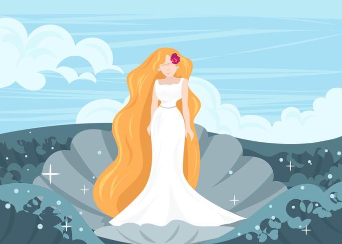 Griechische Göttin Aphrodite in einem Shell-Vektor vektor