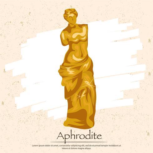 Griechische Göttin Aphrodite Goldstatue vektor