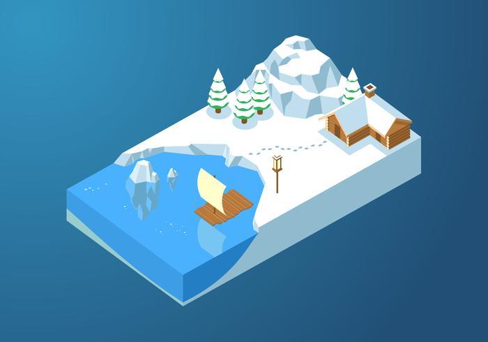 Isometrische Eisbucht kostenlose Vector