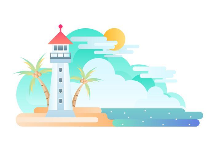 Freie Bucht mit Leuchtturm-Illustration vektor