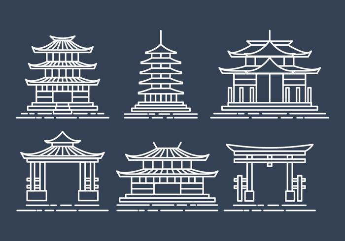 Shrine Ikoner Set vektor