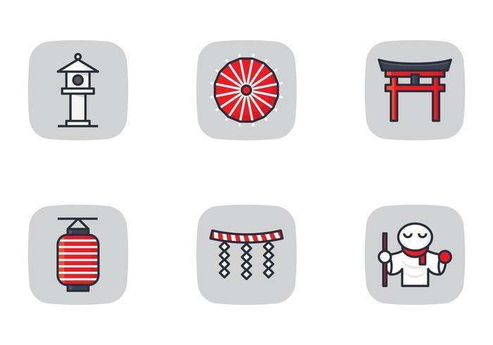 Japansk ikon och helgedom vektor