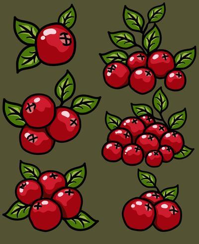 Vektor Cranberry Cartoon Icon Set