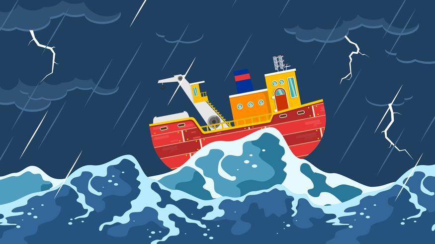 Trawler I En Storm Gratis Vector