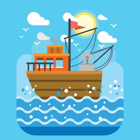 trawler vektor illustration