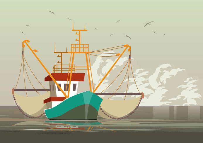 Krabben-Fischen-Schleppnetzfischer-Vektor vektor