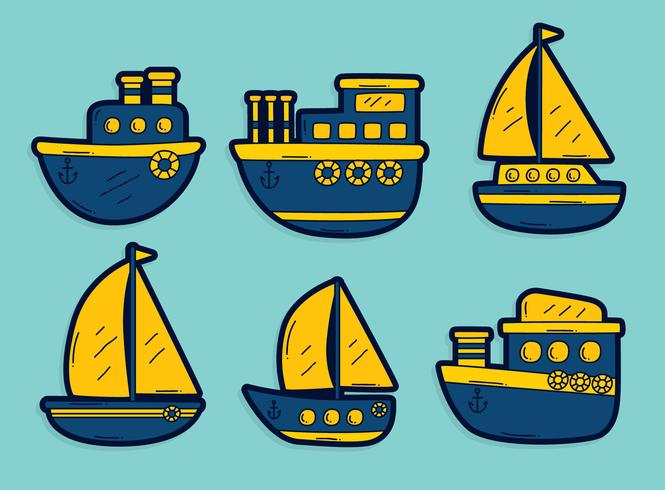 Blauer und gelber Schleppnetzfischer-Boots-Vektor vektor
