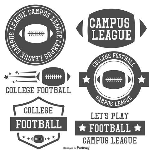 college fotboll etikett samling vektor
