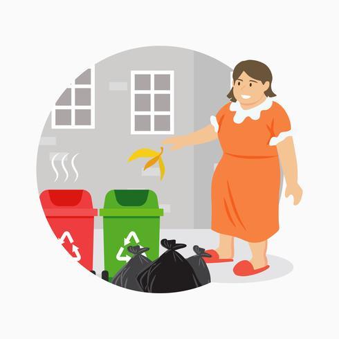 Werfender Abfall der Frau in der Papierkorb-Illustration vektor