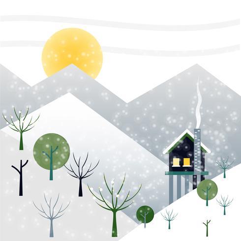Kostenlose flache Design Vektor Winterlandschaft