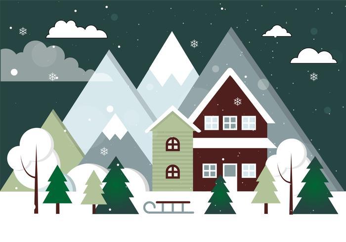 Kostenlose Design Vector Weihnachtslandschaft