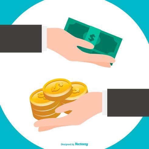 Hände, die Münzen und Rechnungen halten vektor