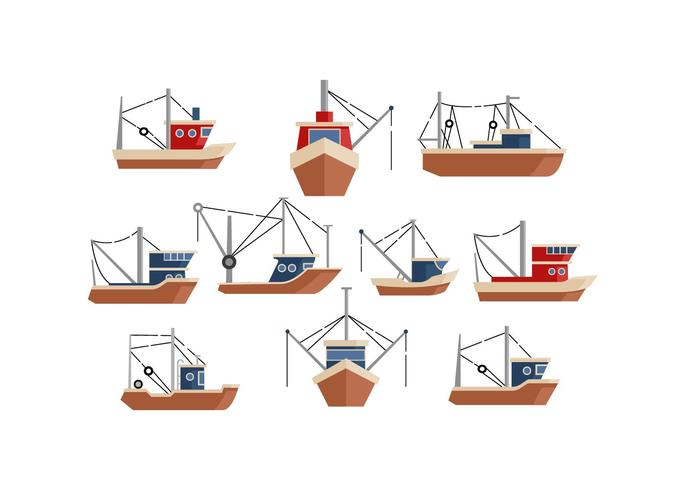 Kostenlose Trawler flache Icon Vektor