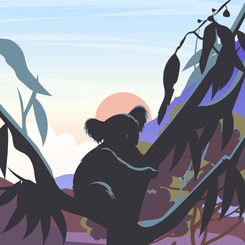 Silhuett Av Koala I En Gum Tree Vectr vektor