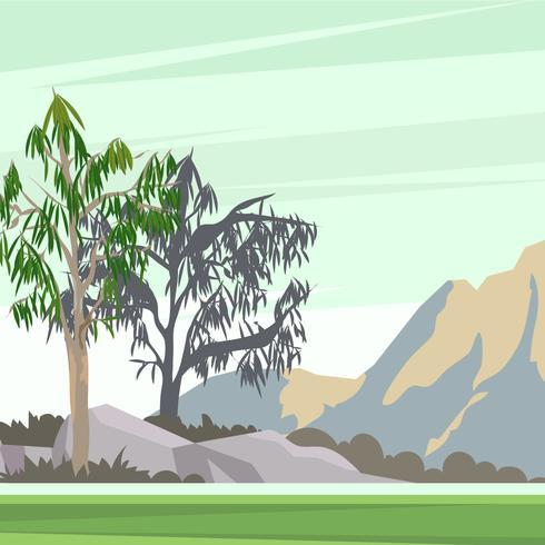 Landskap med Gum Trees Vector