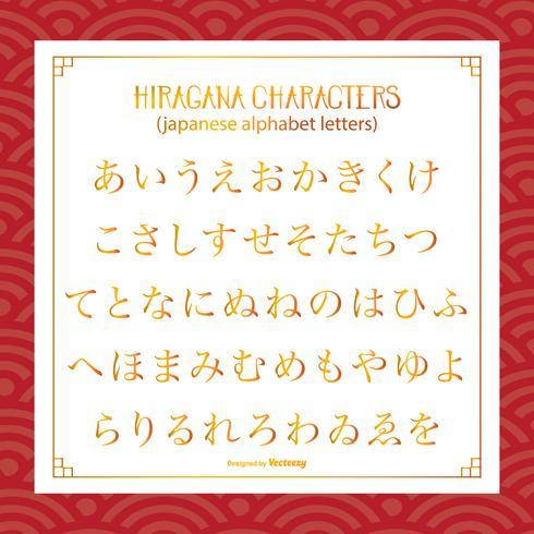 Hiragana japanska tecken / bokstäver vektor