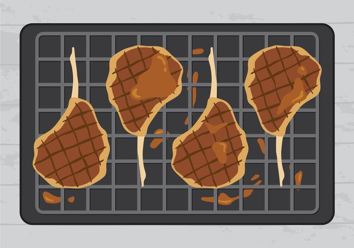 Köstliche Kalbfleisch-Steaks auf Grill-Vektor vektor