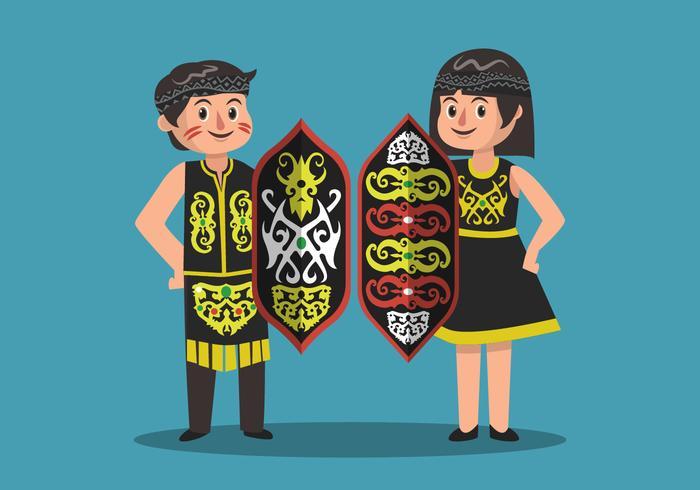Dayak Man och Woman With Shield Vector Illustration