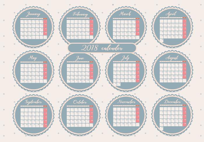 Druckbare Monatskalender Vol 2 Vektor