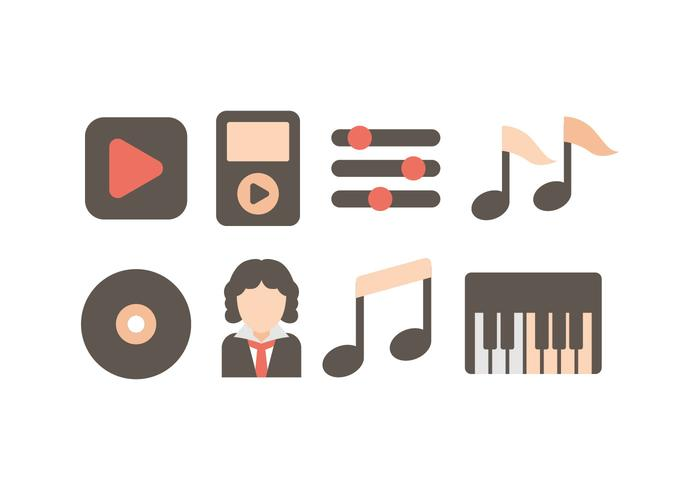 Beethovens Musik Icon Set vektor