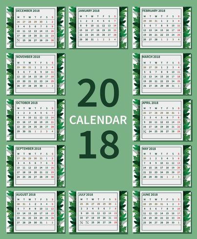 Kostenlose grüne druckbare Kalender Illustration vektor