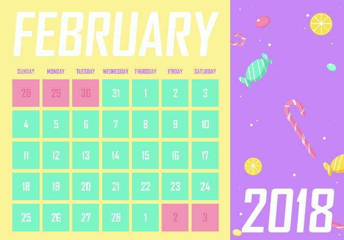 Februari Utskrivbar Månadskalender Gratis Vector