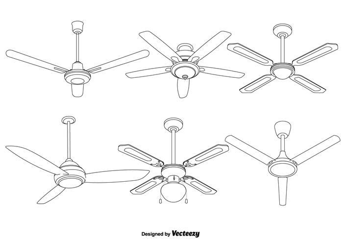 Set av vektor detaljerade takfläkt illustrationer