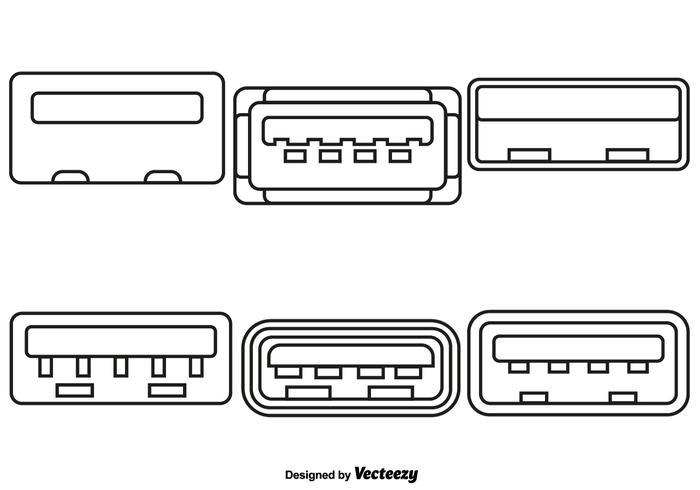 Vektor-Satz USB-Port-Linie Art-Ikonen vektor