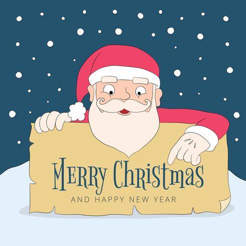 Tecknade Santa Holding Sign Under Jul Meddelande vektor