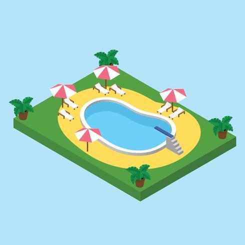 Isometrischer Swimmingpool vektor