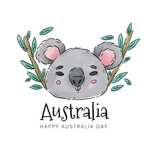 Koala mit Bambus und Blättern zu Australien-Tag vektor