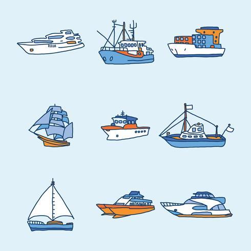 Blå och orange båtar och trawlervektorer vektor