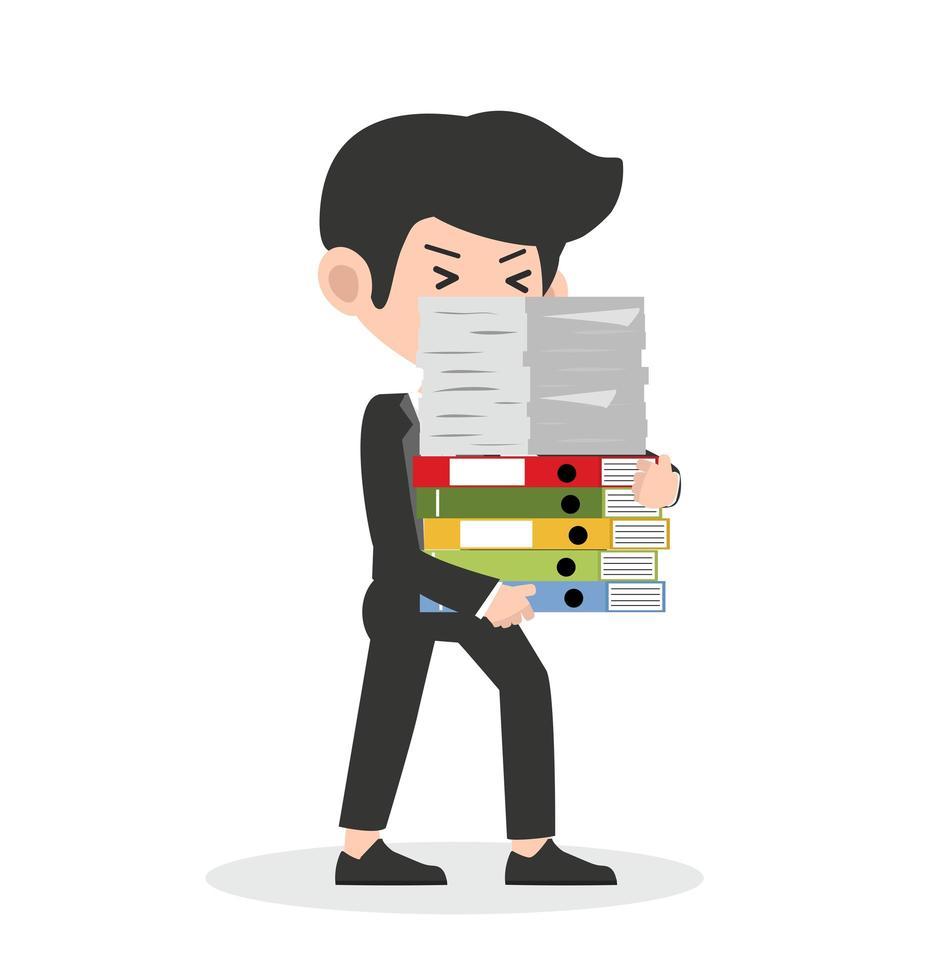 trött affärsman som håller en bunt böcker vektor