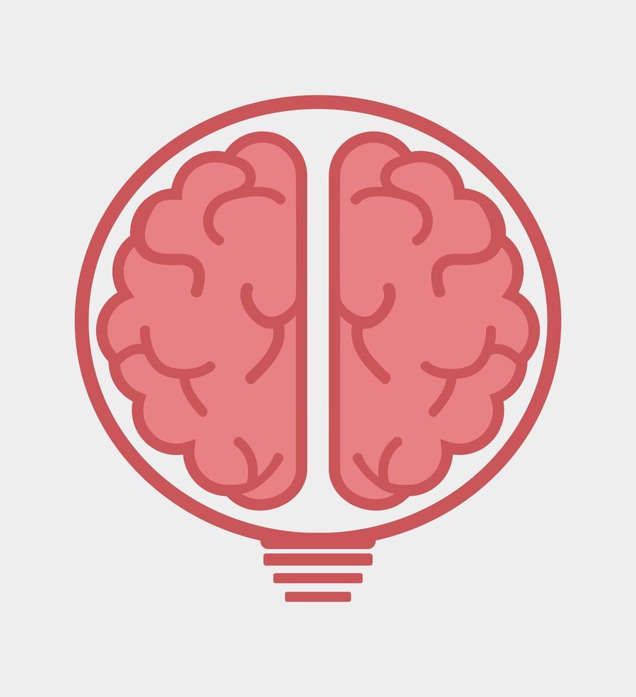 mänsklig hjärna inuti glödlampa, idé koncept vektor