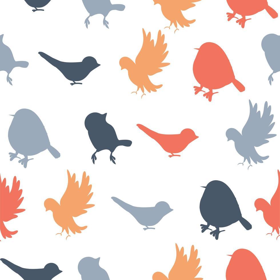 sömlösa mönster av färgglada fågel silhuetter vektor