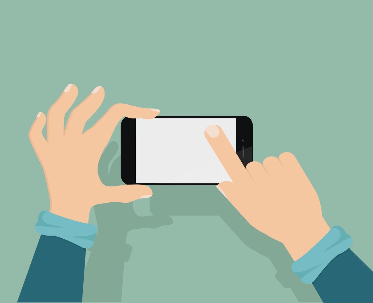 händer som håller en smartphone och knackar på skärmen vektor