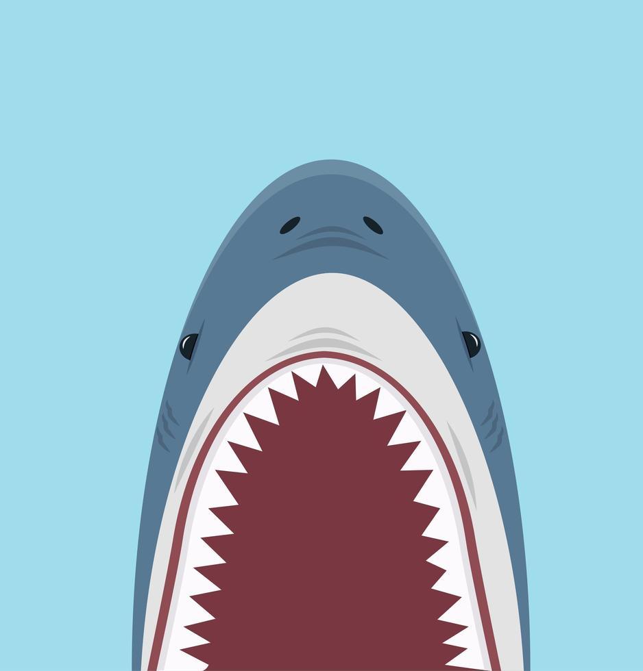 läskig haj med stor öppen mun med skarpa tänder vektor
