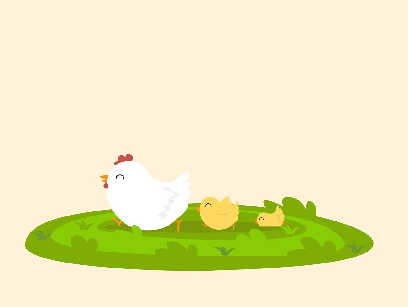 söt kycklingfamilj som går längs gräs vektor