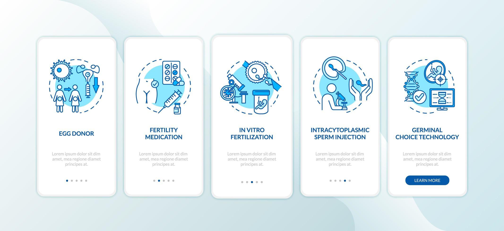 Fruchtbarkeitsmedikamente Onboarding Mobile App Seite Bildschirm vektor