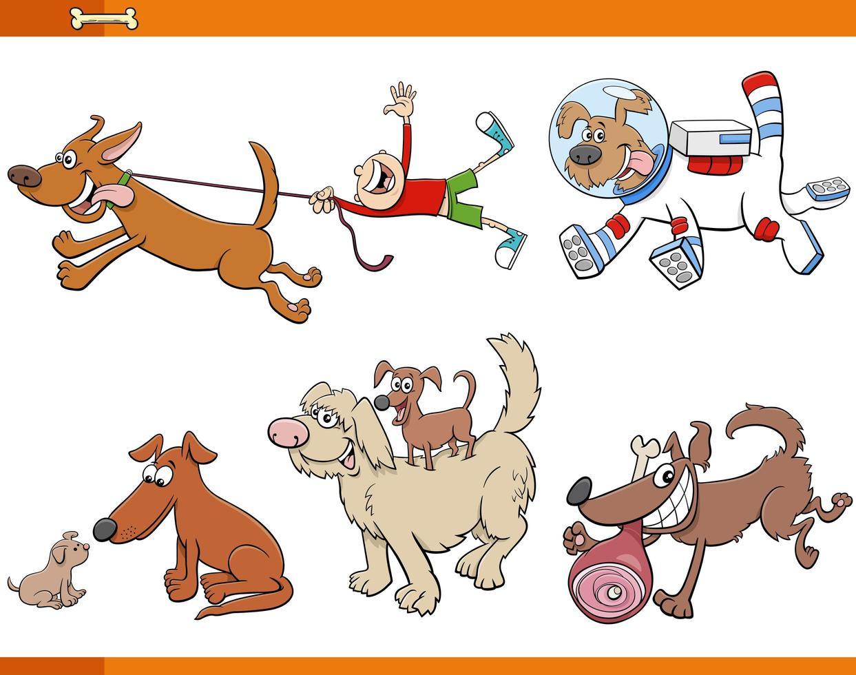 Cartoon Hunde und Welpen Tierfiguren gesetzt vektor
