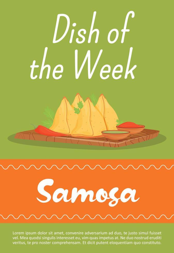 samosa, traditionell indisk måltid affisch vektor