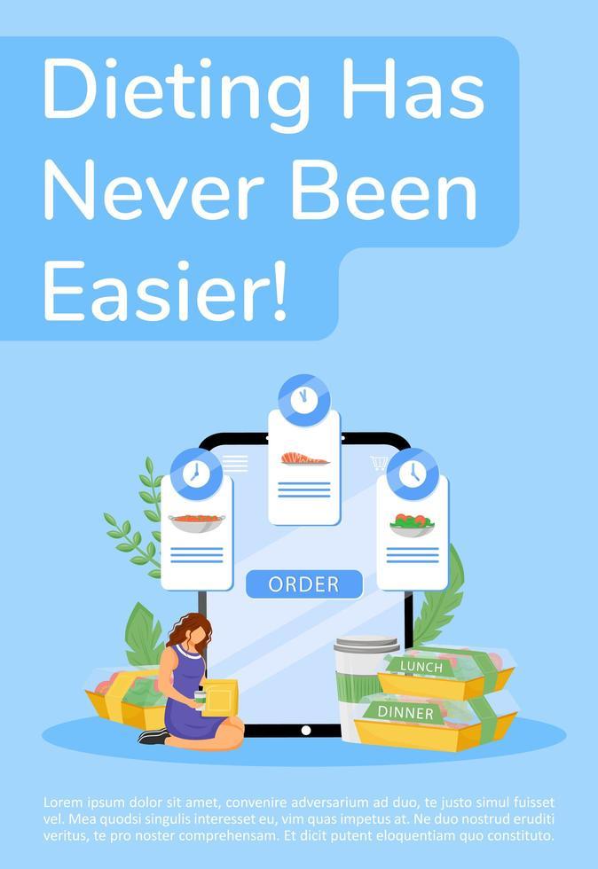 dietmat online beställningsaffisch vektor