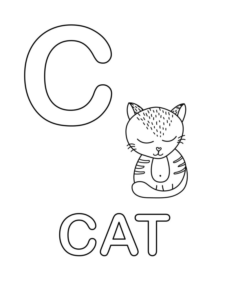 söt kattikon med bokstaven c vektor