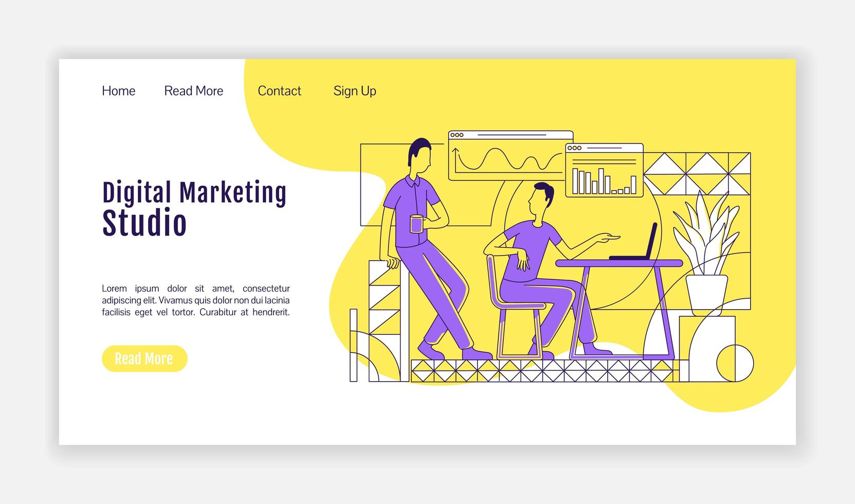 Zielseite des Digital Marketing Studios vektor