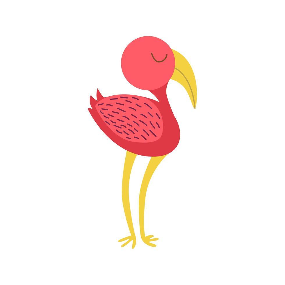 flamingo fågel sida i doodle stil vektor