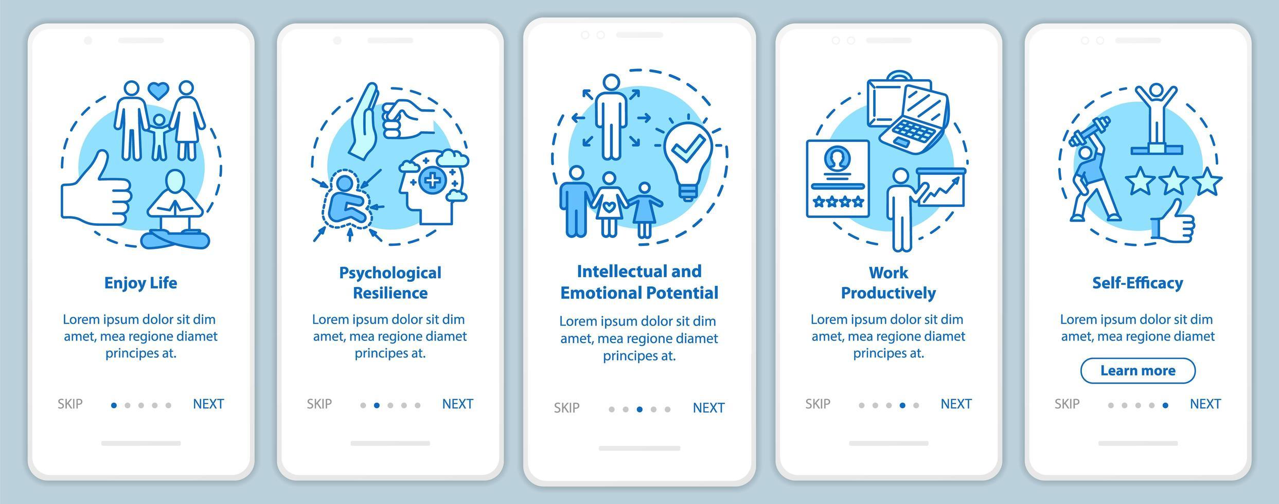 Onboarding der mobilen App-Seitenbildschirm für psychische Gesundheit vektor