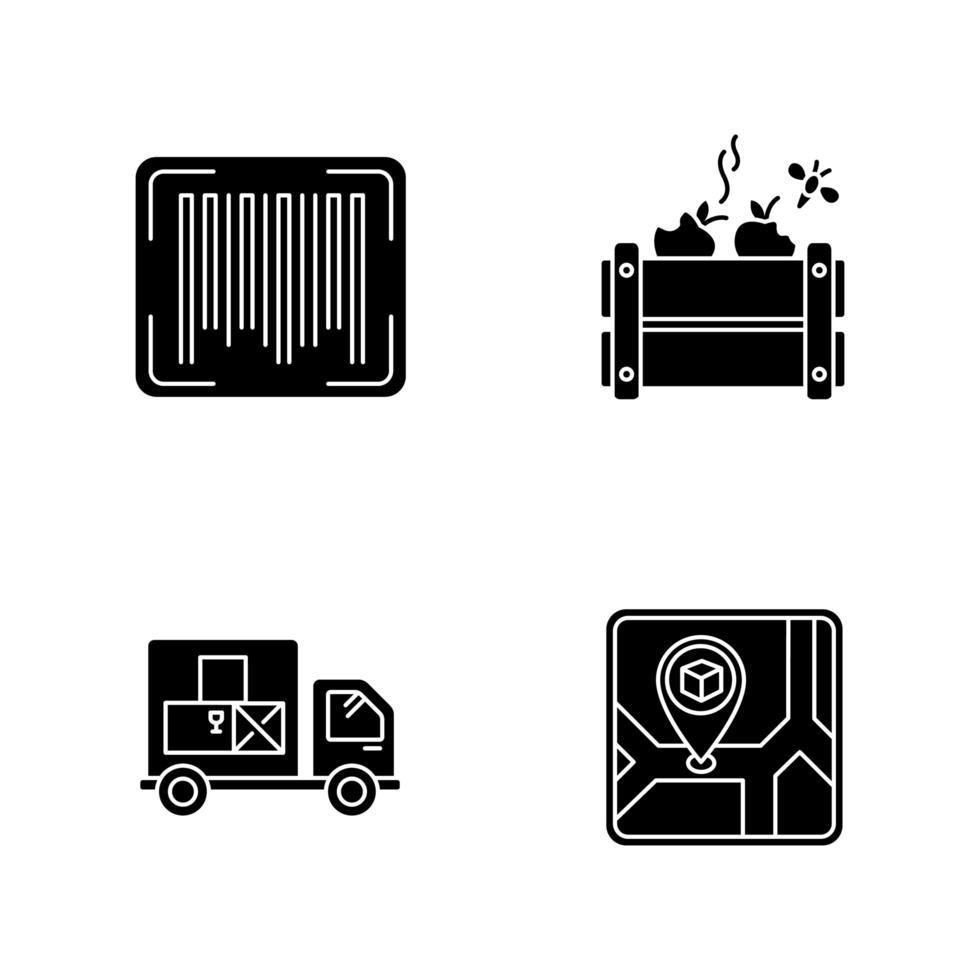 Warenverfügbarkeit und Qualitätskontrolle schwarze Symbole gesetzt vektor