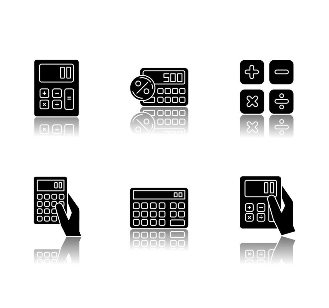 pocket miniräknare släpp skugga svart glyph ikoner set. vektor