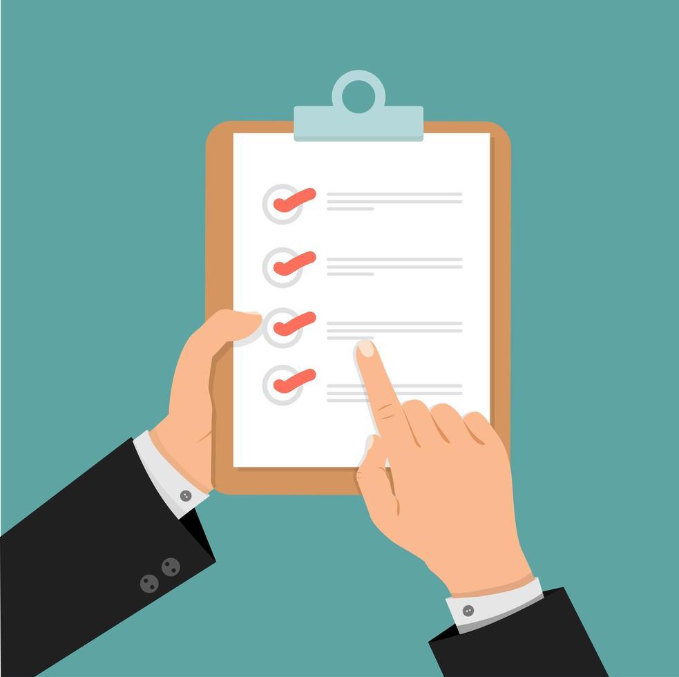 företag som håller ett urklipp med en checklista vektor