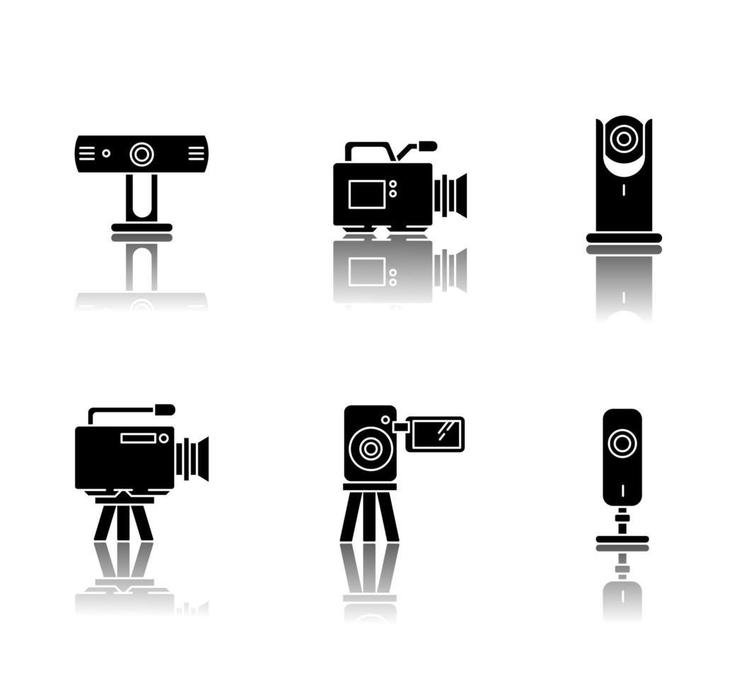 Webcams Schlagschatten schwarz Glyphen Symbole gesetzt. vektor